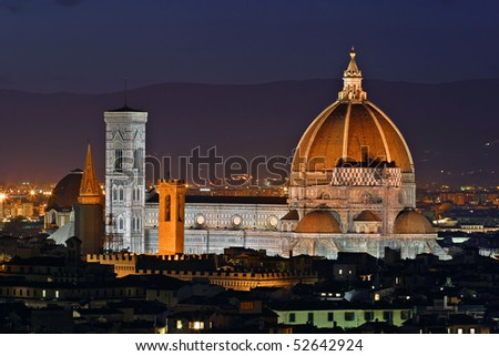 The gorgeous cathedral of Firenze (Italy), The Duomo, as seen from the Michelangelo's Piazza - stock photo