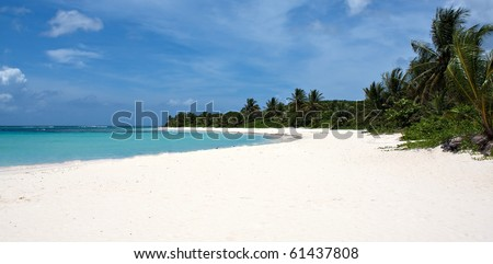 The gorgeous white sand filled Flamenco beach on the Puerto Rican island of Culebra. - stock photo