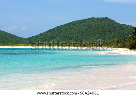 The gorgeous white sand Flamenco beach on the Puerto Rican island of Culebra. - stock photo