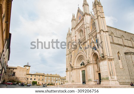 The gothic cathedral in Orvieto, Italy