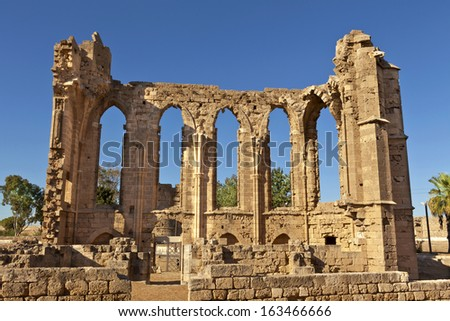 The Gothic ruins of the Church of St John in Famagusta (Gazimagusa) in Cyprus. - stock photo
