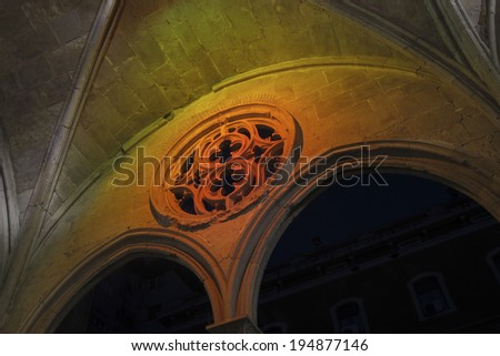 The Gothic style architecture. Monastery of St. Augustine (Convent de Sant Agusti in catalan), Barcelona, catalonia Spain. - stock photo