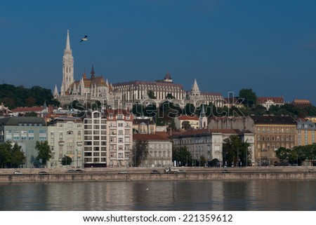 The gothical Matthias church, in the Buda district  near the Fisherman's Bastion. - stock photo