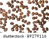 The grains of coffee isolated on a white background - stock photo