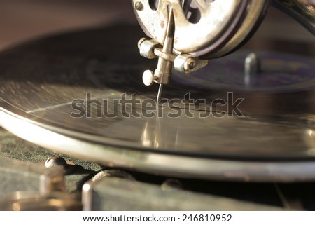 The gramophone, playing music closeup - stock photo