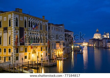 The Grand Canal at the blue hour as seen from the Accademia bridge, Venice, Italy - stock photo