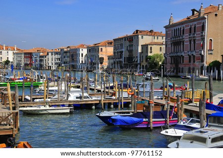 The Grand Canal (Italian: Canal Grande, Venetian: Cana?asso) is a canal in Venice, Italy. It forms one of the major water-traffic corridors in the city. - stock photo