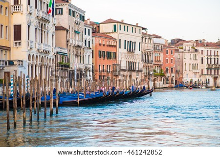 The Grand Canal with gondolas in Venice, Italy