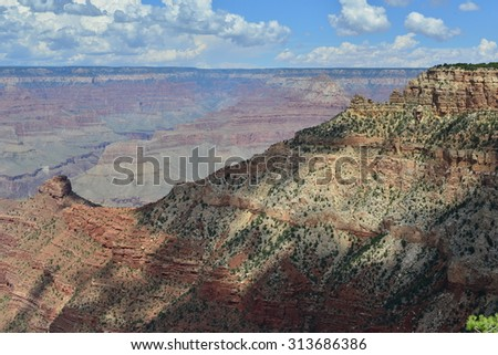 The Grand Canyon National park in late summer in Arizona - stock photo