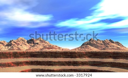 The Grand Canyon on a background of mountains