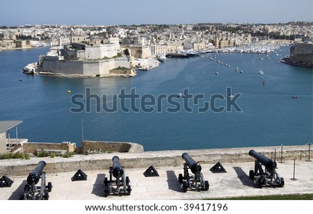 the grand harbor in malta with views of fortifications and marina - stock photo