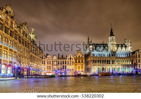 The Grand Place or Grote Markt with the Breadhouse is the central square of Brussels, Belgium, and UNESCO World Heritage Site