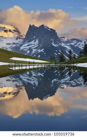 The Grand Seru (2.889 m ) - Lac des Thures - France - stock photo