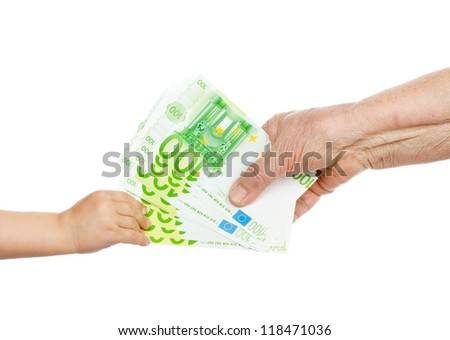 the grandmother hands over money to the grandson. isolated on white background
