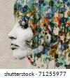 The grange watercolor female profile - stock photo