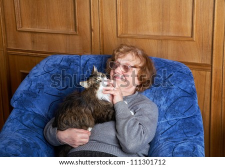 The granny with a cat in an armchair - stock photo
