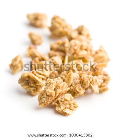 The granola breakfast cereals isolated on white background.