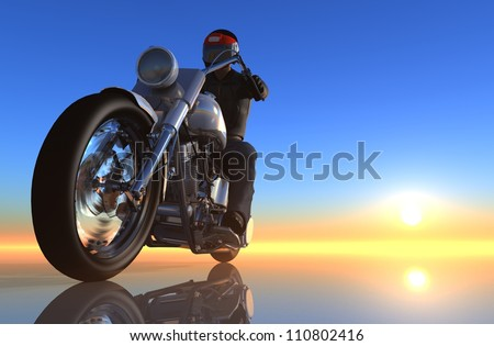 The graphic image of a motorcycle - stock photo