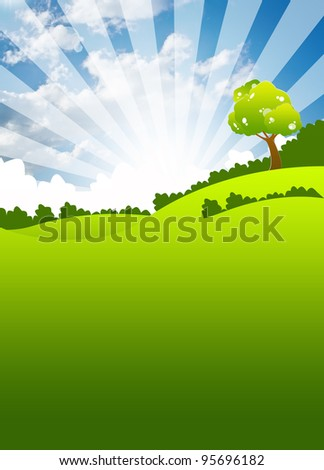 the grass with a blue sky - stock photo