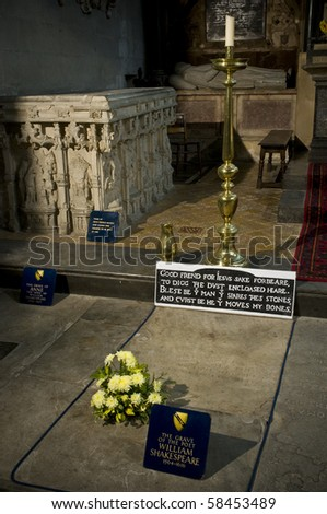 The grave of the poet and dramatist William Shakespeare in the Holy Trinity Church in Stratford upon Avon - stock photo