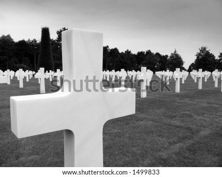 The graves , Normandy American Cemetery , Colleville sur mer , Normandy , France - stock photo