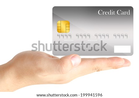 The gray credit card is shown on the open hand on white background. - stock photo