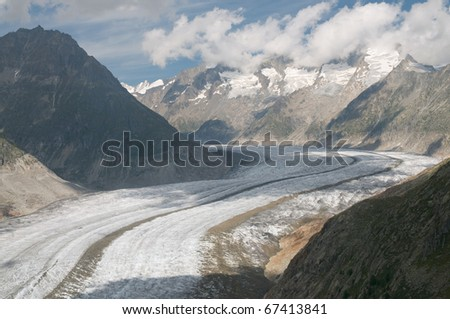 The Great Aletsch Glacier (part of the Jungfrau-Aletsch Protected Area which was declared a UNESCO World Heritage site in 2001) - stock photo