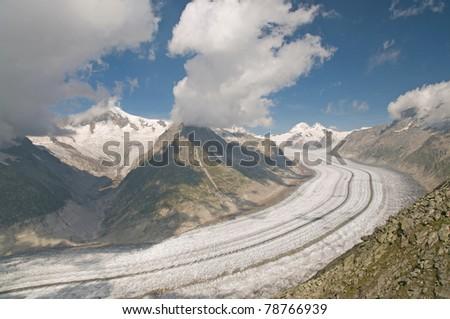 The Great Aletsch glacier (switzerland) - stock photo
