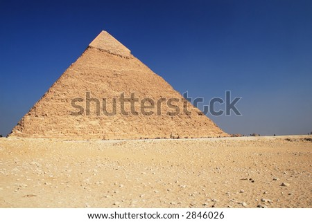 The great ancient Pyramid of Chephren in Giza, near Cairo (Egypt) - stock photo