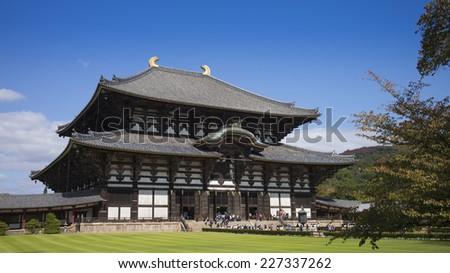 The Great Buddha Hall at Todai-ji in Nara, Japan - stock photo