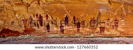 The Great Gallery Pictograph Panel, Horseshoe Canyon, Canyonlands National Park, Utah - stock photo