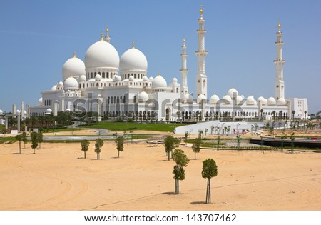 The Great Mosque of the Emir of Abu Dhabi (United Arab Emirates) - stock photo