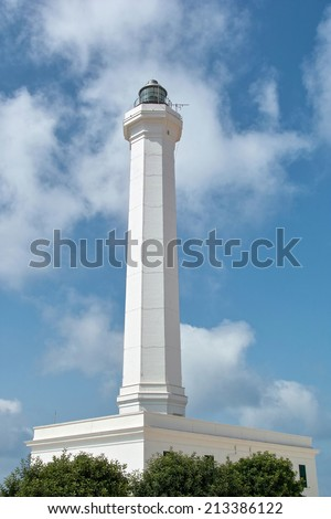 the great octagonal lighthouse of Cape of Leuca, St. Mary of Leuca - stock photo