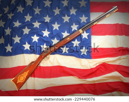 The Great Plains Rifle ( Hawken type ) was a muzzle loading rifle used on the prairies and in the Rocky Mountains of the United States during the early frontier days in 19th century. - stock photo