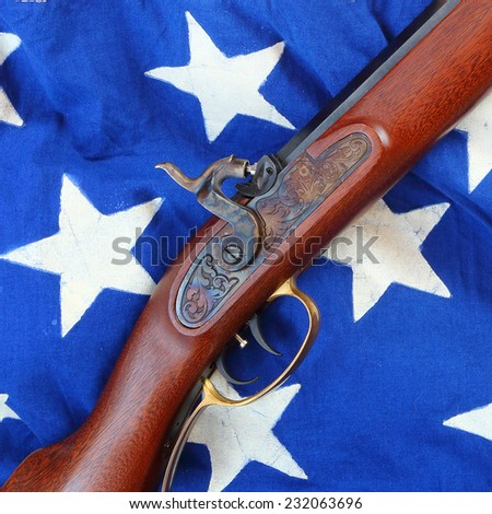 The Great Plains Rifle was a muzzle loading rifle used on the prairies and in the Rocky Mountains of the United States during the early frontier days in 19th century.  - stock photo