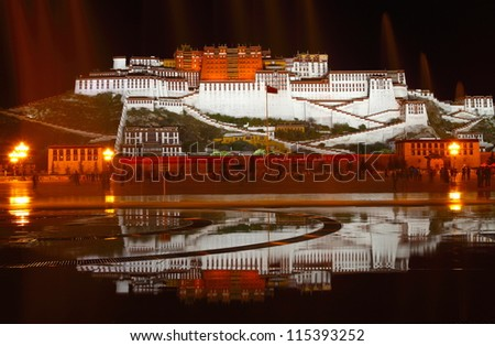 the great potala palace in tibet China in fine weather - stock photo