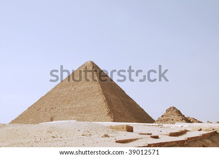 the great pyramids of giza in Egypt, view from the Sphynx