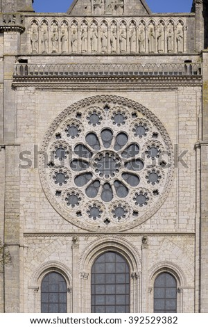 The great rose window of the cathedral Notre-Dame of Chartres, a commune and capital of the Eure-et-Loir department in region Centre-Val de Loire in France - stock photo