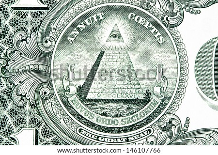 The Great Seal of the United States from the reverse of a one dollar bill. - stock photo