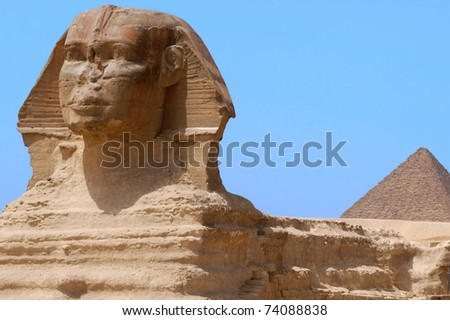 The Great Sphinx and the Great Pyramid of Giza, Egypt. Travel holiday background.  - stock photo