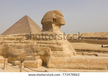 The Great Sphinx. Egyptian Sphinx. The seventh wonder of the world. Ancient megaliths