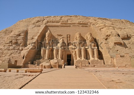 The Great Temple at Abu Simbel, Egypt - stock photo
