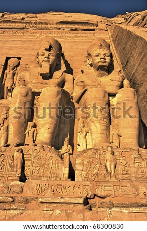 The Great Temple of King Ramses II. Abu Simbel (Nubia, Egypt) - stock photo