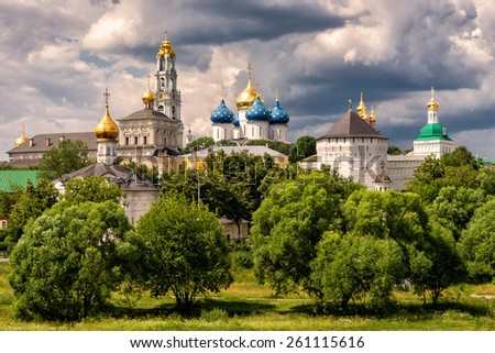 The great Trinity monastery (the Trinity Lavra) in Sergiyev Posad near Moscow (Golden Ring of Russia) - stock photo