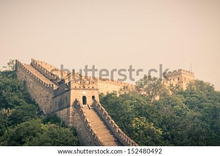 The Great Wall of China at Mutianyu. - stock photo