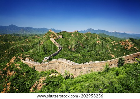 The Great Wall of China near Jinshanling on a sunny summer day - stock photo