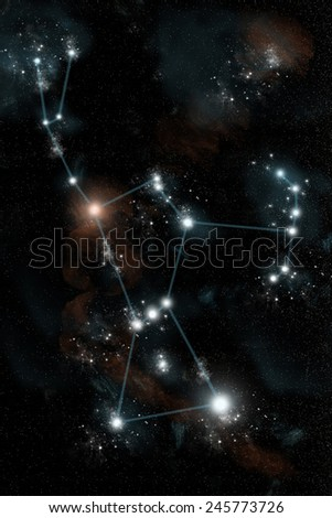 The Greek constellation Orion the Hunter is drawn in blue against the night sky. The red super giant star Betelgeuse shines at the shoulder while Rigel is the brightest star at the lower right. - stock photo