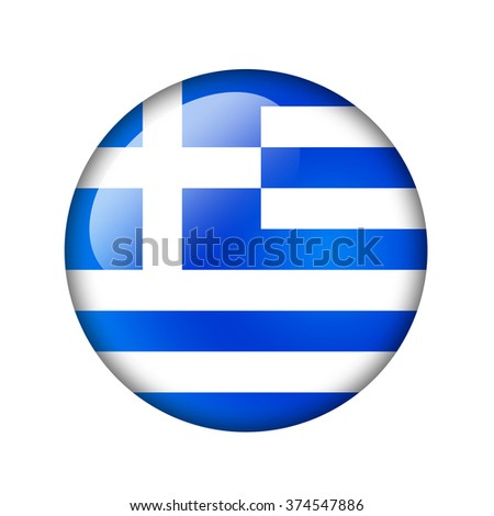 The Greek flag. Round glossy icon. Isolated on white background. - stock photo