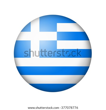 The Greek flag. Round matte icon. Isolated on white background. - stock photo