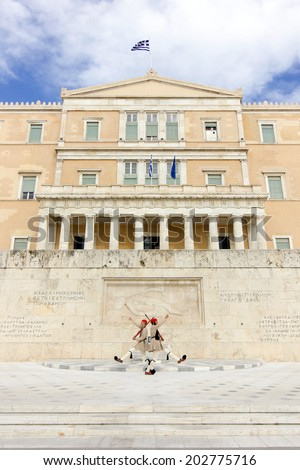 The Greek Presidential guard called Tsoliades dressed in traditional uniform at the monument of the unknown soldier in front of the Greek  parliament. May 11th 2014 athens